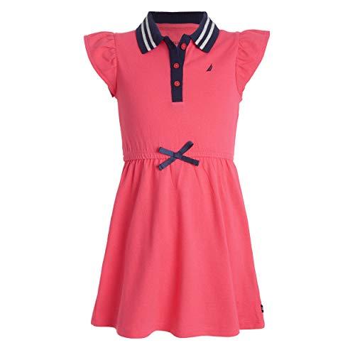 Nautica Girls' Little Short Sleeve Polo Dress, Flutter Bright Pink, 5 (Girls Clothing Polo)