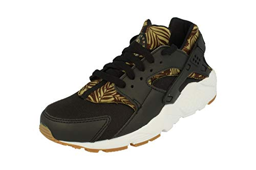 Nike Huarache Run Print GS Trainers 704943 Sneakers Shoes (UK 4.5 us 5Y EU 37.5, Black Metallic Gold White 005) (Huarache Sneakers Gold)