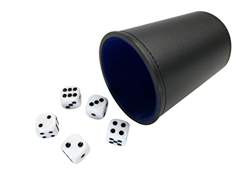 - YH Poker Felt Lined Professional Small Dice Cup with 5 Dice (blue)
