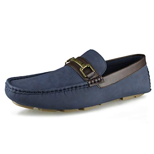 - Hawkwell Men's Casual Slip On Driver Shoes Driving Style Loafer, Navy Simulated Leathers,12 M US