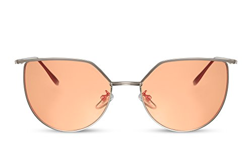 de Metálica Ojo Gafas Mujer Montura Sol Gato Cheapass UV400 Redondas Gold5 de XFqvwwY