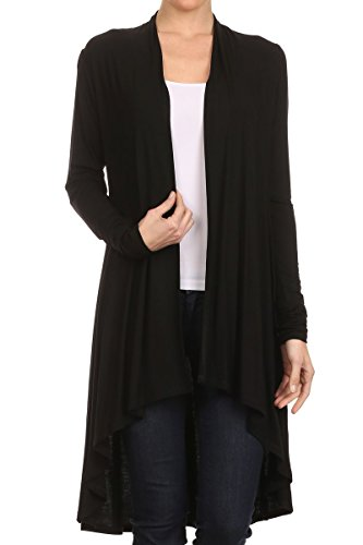 ReneeC. Women's Natural Bamboo Solid Open Front Draped Cardigan – Made in USA (Small, Black)