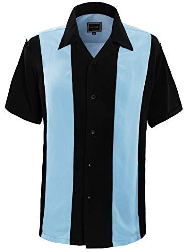 Guytalk Mens Button Down Bowling Shirt, Cuban Style Retro Two Ton Camp Shirt SkyBlue Black-XL