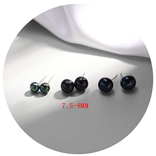 925 Sterling Silver Pearls Round Stud Earrings For Woman Black Pearl Earrings 925 Silver Fine Jewelry,Diameter 7.5Cm-8Mm