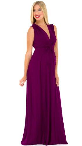 Dress Shirred Knit (The Olian Shirred Rayon Knit Long Dress (Medium, Grape))