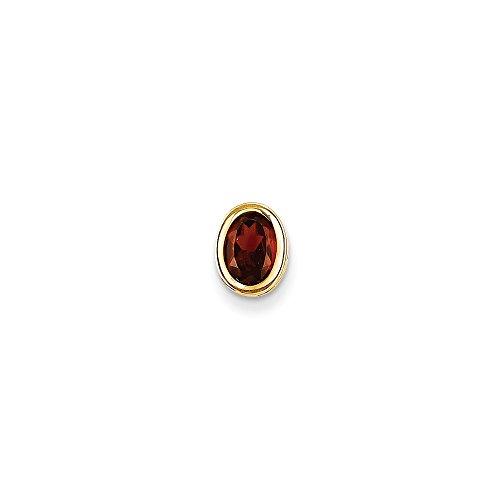 14k Yellow Gold 7x5mm Oval Natural Garnet Bezel Pendant