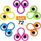 Jovitec 72 Pieces Eyes Finger Puppet Eyeballs Ring Toy Googly Eyeball Ring for Kids Party Toy, 6 Colors ()