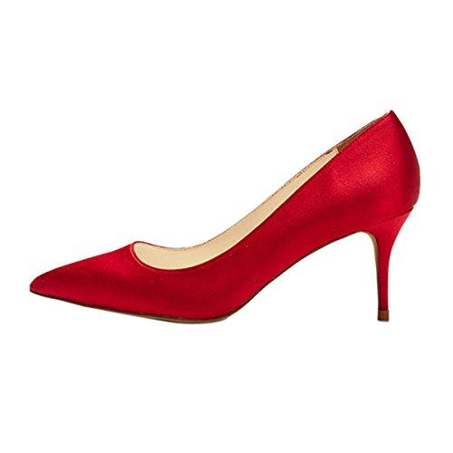 Zulian Grande Tallone Qian Semplici Formato Delle Donne Rosso Pompe Per Appuntito Comodità Punta Stiletti Superficiale Alti Ufficio 7qwzIOgx