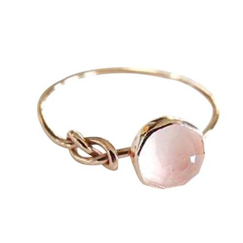 (Rings for Women,Caopixx Women's Wedding Ring Natural Gem Stone Anniversary Jewelry Gift (Pink, 6))