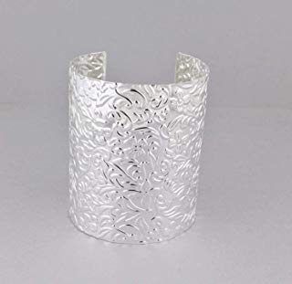 - Silver cuff bracelet floral stamped pattern metal bangle cuff 3 wide shiny