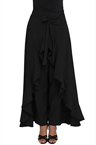 Jupe Pantalons Volant Irrégulier Bowknot Simple Vepodrau Noir Femmes wIqnvRnXP