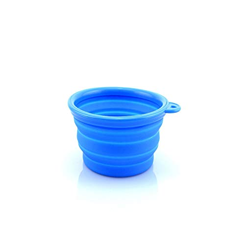 Pet Dog Food Collapsible Bowl Silicone Pad Foldable Cats Dog Feeders Feeding Candy Color Dog Supplies Bowl Travel Supplies 10 Blue L