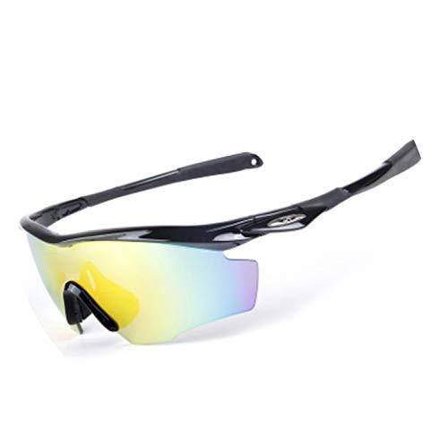 (Anti-UV 400 line Sports Outdoor Polarized Riding Glasses Men Fishing Glasses 5pcs Lens 1pcs Frame,1)
