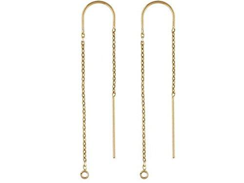 Gold Threader Thread Earrings - 1 Pair Threader Earrings 14K Gold Filled, U threader Ear Threads Box Chain Drop with ring 3.5