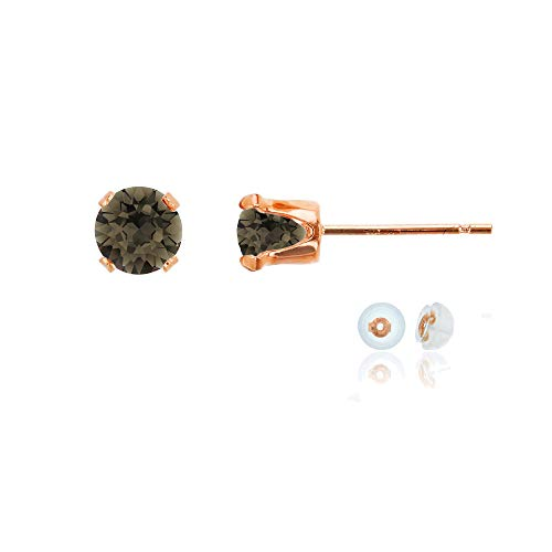 Genuine 10K Solid Rose Gold 5mm Round Natural Smokey Quartz Birthstone Stud Earrings