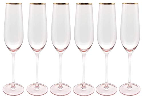 - CoolZest Champagne Flutes - Champagne Glasses Set of 6. Elegant Wedding Champagne Flutes (Pink) Made from Lead-Free Premium Crystal Glass, 10
