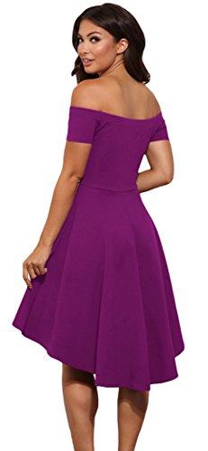 EOZY Vintage Robe Patineuse Femme Épaule Nue Pour Soirée Taille Haute Violet