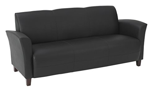 Office Star Breeze Bonded Leather Sofa with Cherry Finish Legs, Black