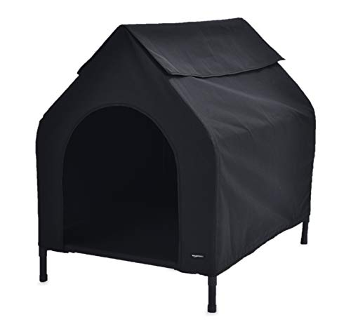 (AmazonBasics Elevated Portable Pet House - Small, Black)