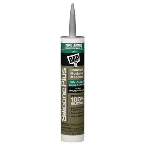 DAP 08675 Silicone Plus Concrete and Masonry Sealant, 10.1 oz, Gray Concrete Crack Seal