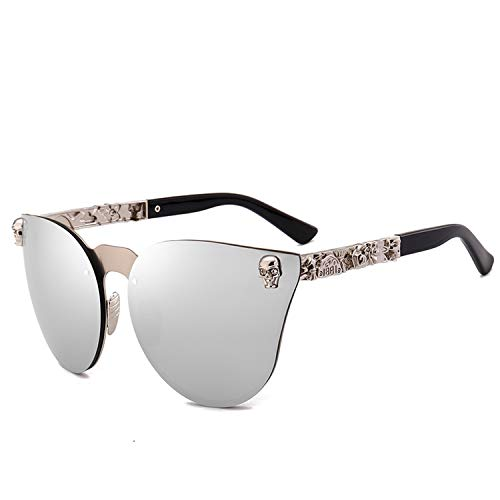 Candy-OU 2019 New Vintage Gothic Cat Eye Sunglasses Women Men Metal Skull Rose Gold Sun Glasses,Mirror Silver (Frames 2015 Spectacle)