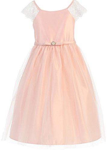 Little Girls Lace Sleeve Pearl Brooch Easter Flowers Girls Dresses Pink 4