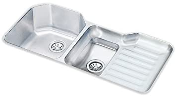lustertone 42 u0026quot  x 21 u0026quot  undermount double bowl kitchen sink with reveal rim     lustertone 42   x 21   undermount double bowl kitchen sink with      rh   amazon com