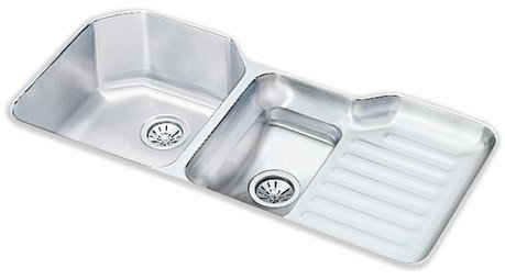 lustertone 42   x 21   undermount double bowl kitchen sink with reveal rim larger bowl  left     amazon com lustertone 42   x 21   undermount double bowl kitchen sink with      rh   amazon com