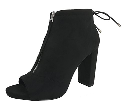 Black Peep Toe (Women's Zipper Front Ankle Bootie with Peep Toe Quality Faux Suede Block High Heel Black 8)