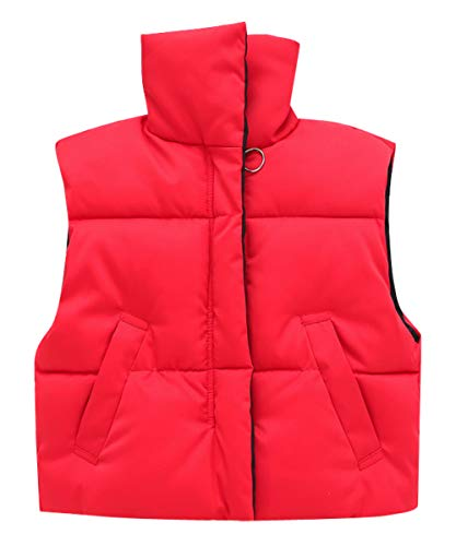(Happy Cherry Boys Vests Jacket Thick Sleeveless Vest Stand Collar Quilted Waistcoat 3-4T Red)