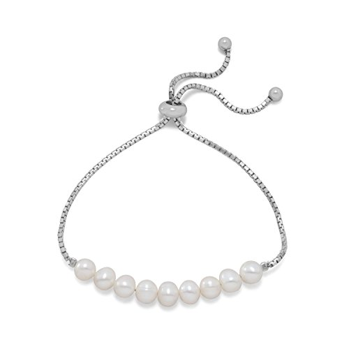 Rhodium Plated Cultured Freshwater Faux Pearl Bolo Bracelet ()