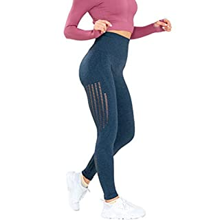 Women's High Waist Seamless Leggings Ankle Yoga Pants Squat Proof Workout Tight Blue