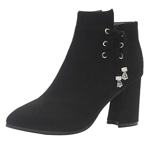 Suede Boot Boots Zipper Heel DAYSEVENTH Shoes Ankle Black Casual Block Ladies Boots Flock Boots High Martin 0CBqFw6x