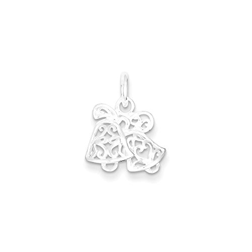 Sterling Silver Filigree Scroll Wedding Bells Pendant Length 15mm Fits Up To 3mm (Filigree Wedding Bell)
