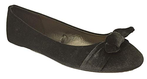 (Womens Flats Jersey Soft and Faux Vegan Leather Comfortable Basic Canvas Slip On Ballet Shoes Dress Shoes (9, Velvet Black with Memory Foam Insole))