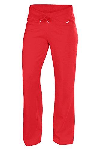 Nike para mujer de forro polar sudor Warm Up Pantalones Rojo