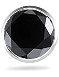 0.11-0.13 Cts Black Diamond Mens Stud Earring in 18K White Gold - Valentine's Day Sale