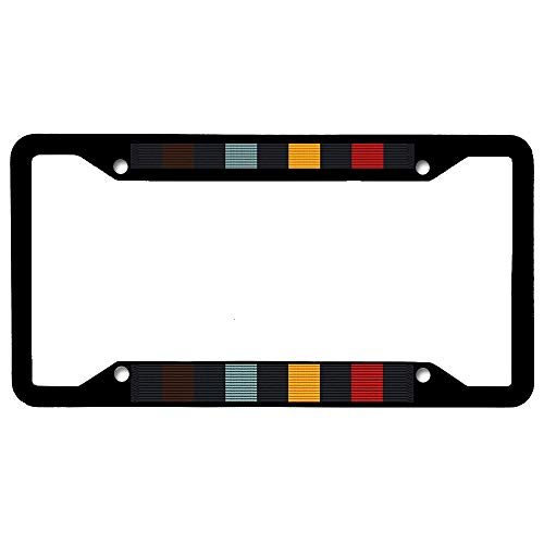 Wisconsin National Guard Write (Perfect Attendance) Award Ribbon Military License Plate Frame, Stainless Steel License Plate Holder with Screw Caps - 4 Holes Car License Tag Frame for US Vehicles