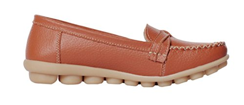 Shoes Flat Serene Cowhide Womens Orange Driving 2 on Slip Casual Loafer wCERgE8q