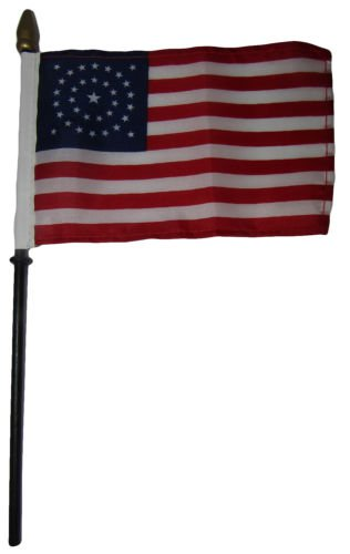 Wholesale 6 34 Star USA Circular 4''x6'' Flag Desk Set Table Wooden Stick Staff - Vivid Color and UV Fade Resistant - Prime Outside Garden Home Decor
