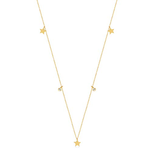 Diamond Star Pendant Necklace - GELIN 14k Yellow Gold 0,02 ct Diamond Star Station Pendant Chain Necklace for Women,18 Inch
