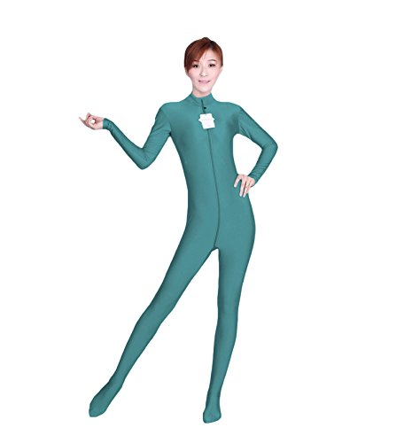 WOLF UNITARD Long Sleeve Bodysuit for Adult and Child Small Cyan (Circus Dance Costumes)