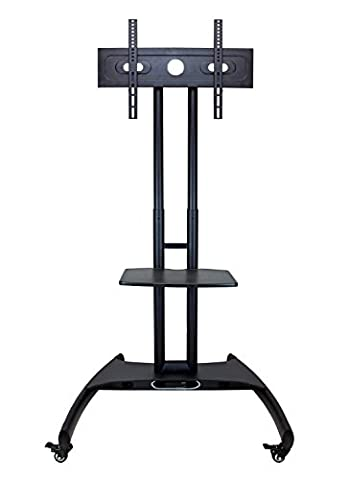 LUXOR FP2500 Adjustable Height LED/LCD Flat Panel Mount Cart with Shelf, Gray - Video Conference Carts