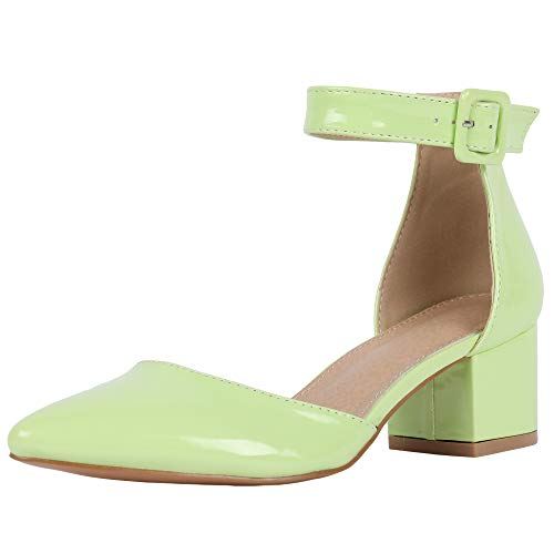 FISACE Womens Low Mid Square Heel Ankle Strap Sandal Office Ladies Pointed Toe Pumps Shoe (9 M US, Z-Fluorescent Green) ()