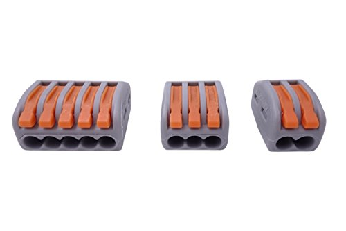 Qadira 222-412 (20pcs) 222-413 (20pcs) 222-415 (16pcs) Lever-Nut Assortment Conductor Compact Wire Connectors Pack-56pcs (Spark Plug Socket 3 4 compare prices)