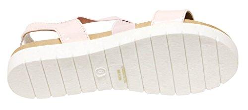 Bella Marie Venice-8 Womens open toe slingback comfort sole elastic crossing upper patent sandals Pink g0S5x9aWE