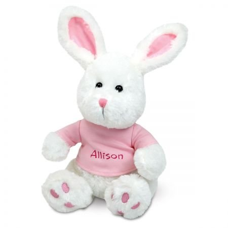 Personalized Easter Plush Bunny with Pink T-Shirt - 12