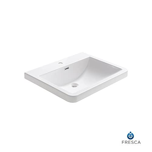 """low-cost Fresca FVS8525WH Milano 26"""" White Integrated Sink with Countertop"""