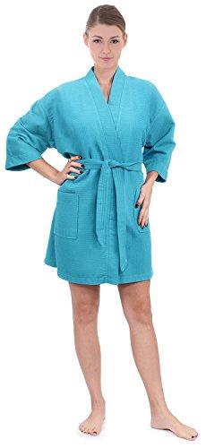 (Women's Knee Length Waffle Weave Kimono Bathrobe (Small/Medium, Turquoise))