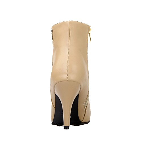 Boots Zipper Apricot Soft Pointed Toe Solid Women's Heels Closed High AgooLar Material wvUqBU